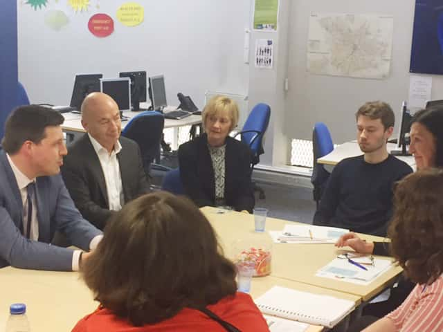 MSP Jamie Hepburn, Minister for Employability and Training meets employability customers at the Wise Group.