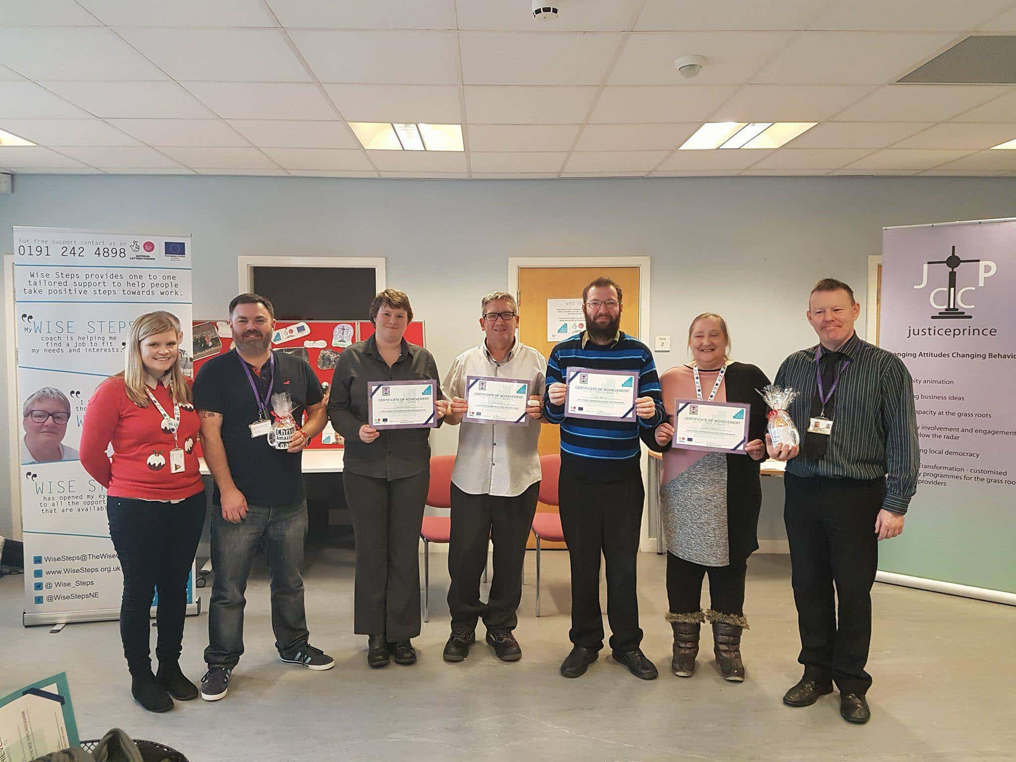 Wise Steps participants receive certificates for all their achievements on the programme.