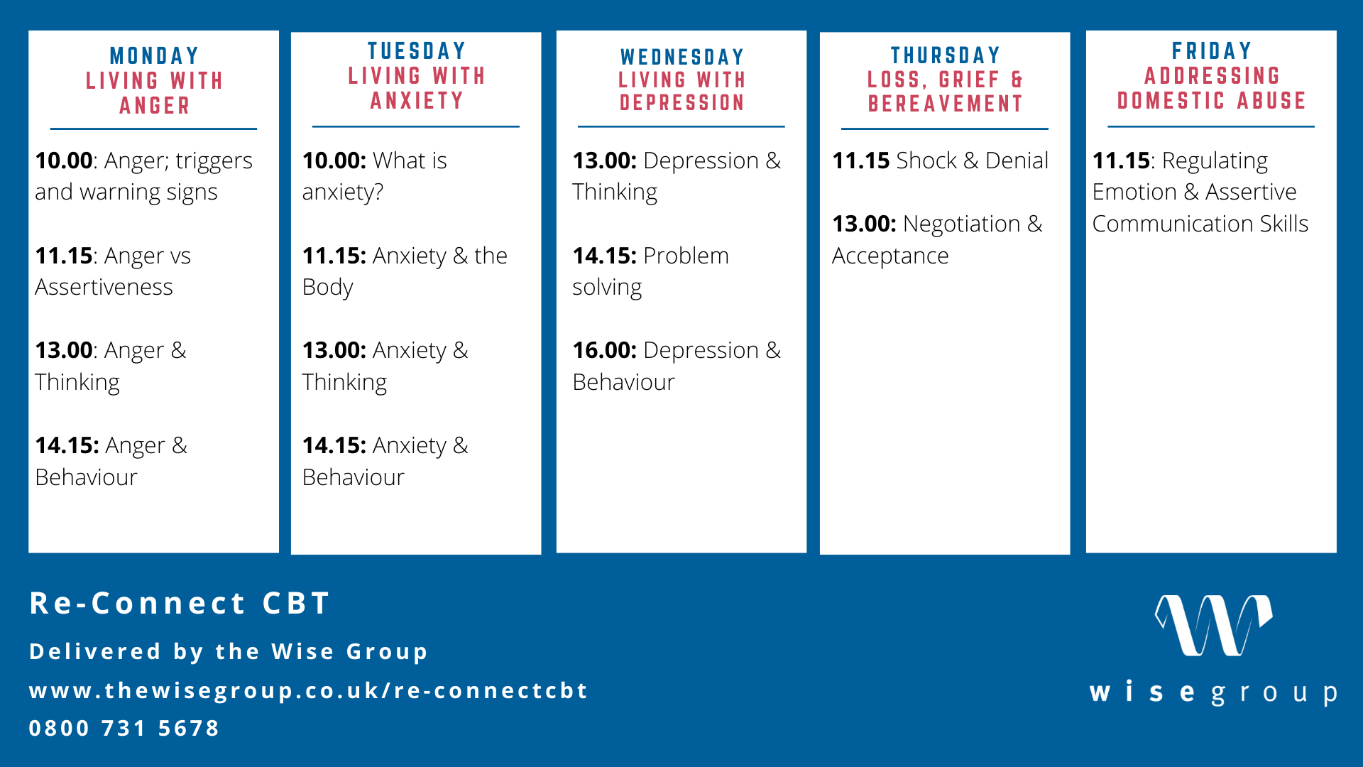 Re-Connect CBT weekly timetable